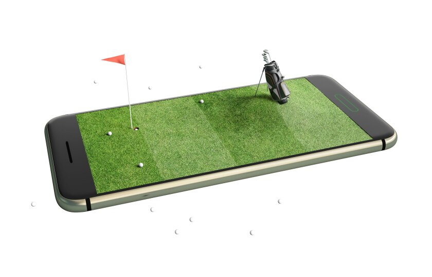 iPhone with Golf Hole, Golf Balls and Golf Bag on top