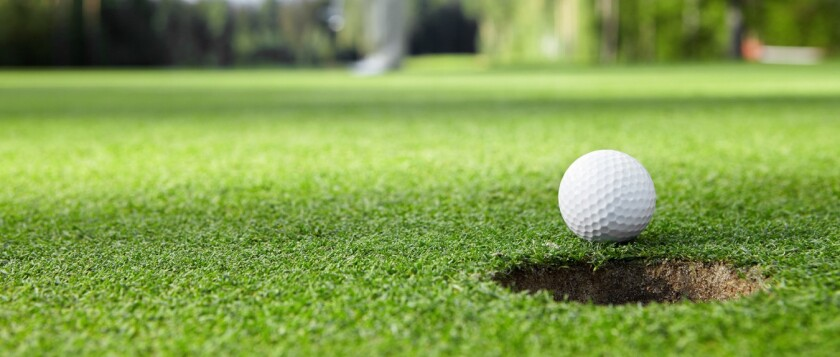 Lead Golf Ball Short of Golf Hole