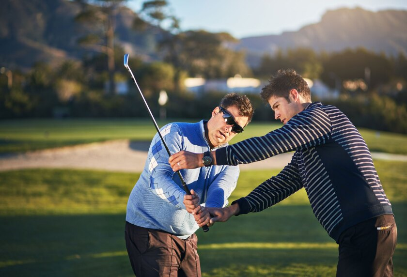 Golf Lessons Backswing Two Males