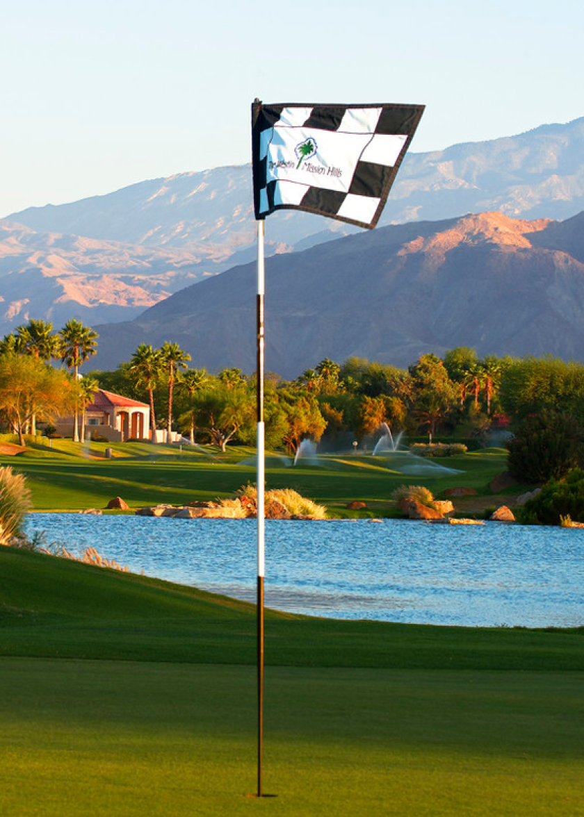 The Westin Mission Hills Golf Course with logo flag stick