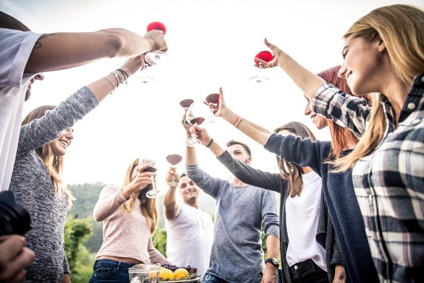 group of young adults cheersing