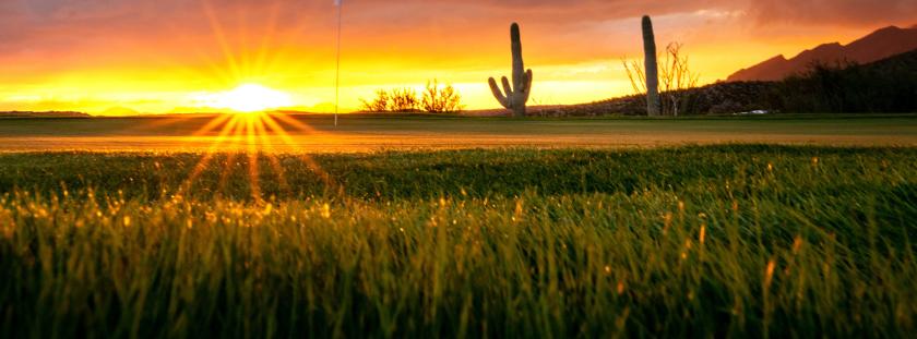 Arizona National Golf course sun strike through clouds