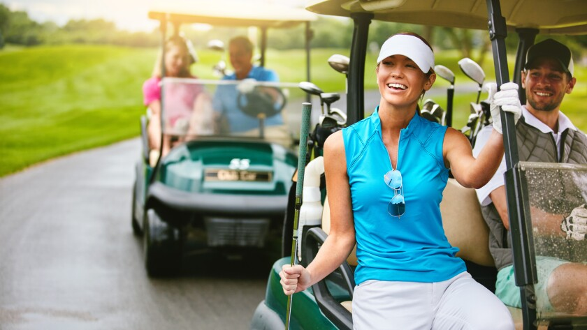 foursome group of couple golfers for outing event league